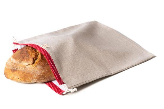 Bagydesign Chlebovka - pytlík na chleba režný s červeným tunýlkem