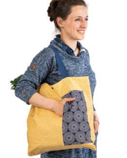 Bagydesign lněná nákupní taška s mandalovou kapsou