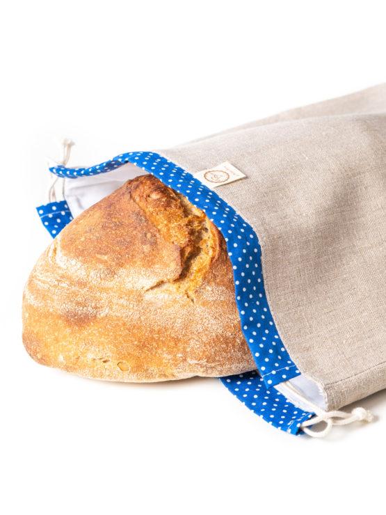 Bagydesign Chlebovka - pytlík na chleba režný s modrým tunýlkem