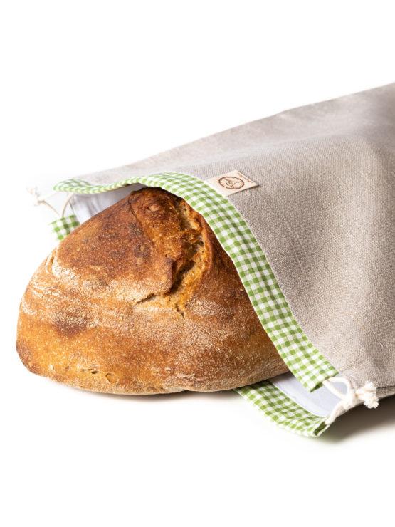 Bagydesign Chlebovka - pytlík na chleba režný se zelenou kostkou