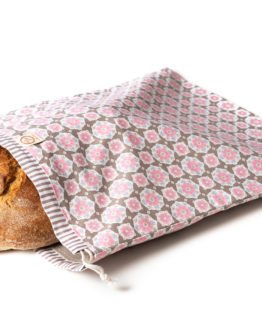 Bagydesign Chlebovka - pytlík na chleba růžové květy