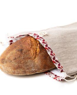 Chlebovka Bagydesign - pytlík na chleba režná s červenými lístky