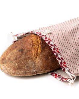 Chlebovka Bagydesign - pytlík na chleba béžový s červeným puntíkem