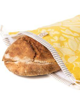 Chlebovka Bagydesign - pytlík na chleba žlutý len