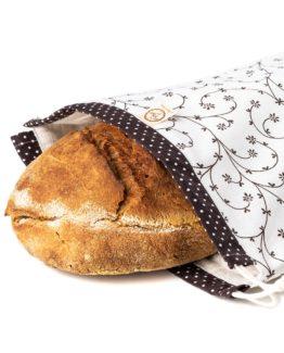 Chlebovka Bagydesign - pytlík na chleba popínavé květy na bílé